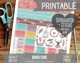 Boho Chic Weekly Add-on Printable Planner Stickers, Erin Condren Vertical and Horizontal, Happy Planner, Weekly Stickers, Cut