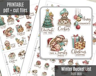 Elena Planner Girl - Winter Bucket List LIGHT skin - Christmas Planner Stickers, Printable Stickers, Character Sticker, Journal - CUT FILES