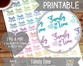 Family Time Printable Planner Stickers, Erin Condren Planner Stickers, EC Printable Stickers, Family Time Stickers - CUT FILES