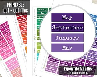Months Typewrite Planner Stickers Bright Colors, Month Script Printable Stickers, Planner Sticker, Journal, Bujo, Hobonichi, Cut Files