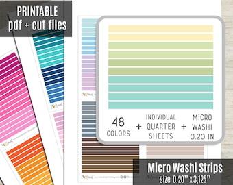 Micro Washi Strips Planner Stickers, Washi Tape Printable Stickers, Planner Sticker, Journal, Bujo, Hobonichi, Cut Files