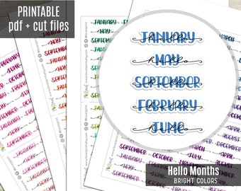 Hello Months Hand-Lettered Planner Stickers Bright Colors, Month Printable Stickers, Planner Sticker, Journal, Bujo, Hobonichi, Cut Files