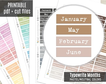 Months Typewrite Planner Stickers Pastel Colors, Month Script Printable Stickers, Planner Sticker, Journal, Bujo, Hobonichi, Cut Files