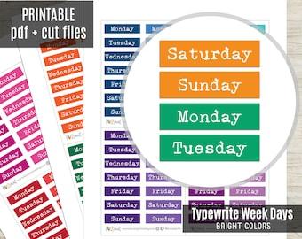 Week Days Typewrite Planner Stickers Bright Colors, Week Script Printable Stickers, Planner Sticker, Journal, Bujo, Hobonichi, Cut Files