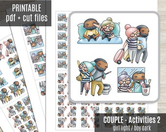 Couple Activities SET2 - Elena and Oliver Planner Stickers, Character Printable Stickers, Character Sticker, Journaling, Coloring, CUT FILES