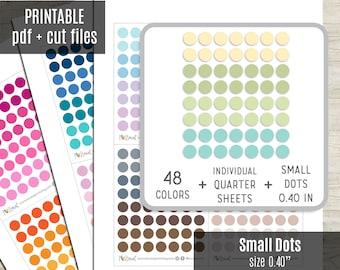 Small Dot Planner Stickers, Dot Circles Printable Stickers, Planner Sticker, Bullet Journal, Hobonichi, Erin Condren, Cut Files