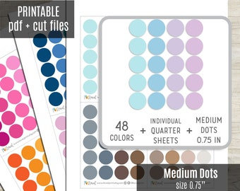 Medium Dot Planner Stickers, Dot Circles Printable Stickers, Planner Sticker, Bullet Journal, Hobonichi, Erin Condren, Cut Files