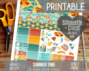 Summer Time Weekly Add-on Printable Planner Stickers, Erin Condren Vertical and Horizontal, Happy Planner, Weekly Stickers, Cut files