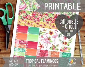 Tropical Flamingos Weekly Add-on Printable Planner Stickers, Erin Condren Vertical Horizontal, Happy Planner, Watercolor Stickers, Cut files