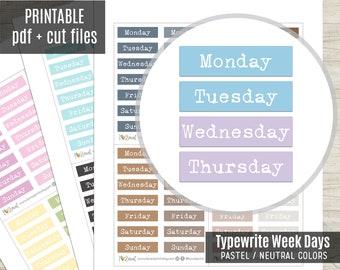Week Days Typewrite Planner Stickers Pastel Colors, Week Script Printable Stickers, Planner Sticker, Journal, Bujo, Hobonichi, Cut Files