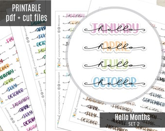 Hello Months Hand-Lettered Planner Stickers SET 2, Month Printable Stickers, Planner Sticker, Journal, Bujo, Hobonichi, Cut Files