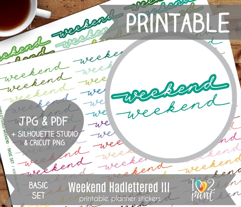 photo relating to Na Basic Text Printable titled Hand Lettered Weekend Banner Printable Stickers, Erin Condren Planner Stickers, Glitter Planner Stickers, Weekend Stickers - Minimize Information