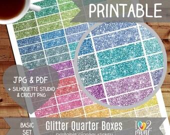 Glitter Quarter Box Printable Planner Stickers, Erin Condren Planner Stickers, Glitter Printable Stickers, Glitter Stickers - CUT FILES