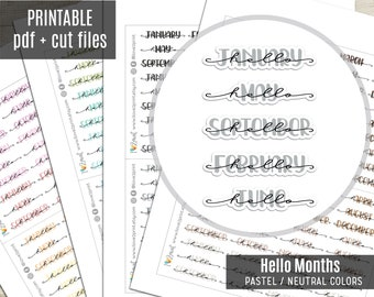 Hello Months Hand-Lettered Planner Stickers Pastel Colors, Month Printable Stickers, Planner Sticker, Journal, Bujo, Hobonichi, Cut Files