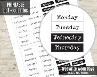 Week Days Typewrite Planner Stickers Black and White, Week Script Printable Stickers, Planner Sticker, Journal, Bujo, Hobonichi, Cut Files