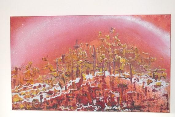 Vreemde werelden acryl schilderij gemengde media doek etsy