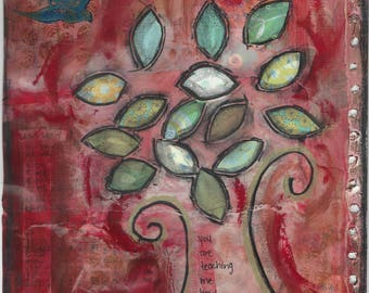 Giclee print - tree of life - bird - red - blue - wall decor - canvas - mixed media - art print
