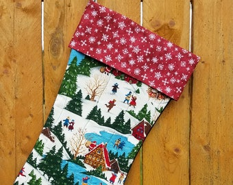Country Scene Quilted Christmas Stocking
