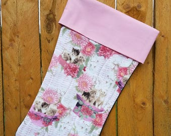 Kittens Quilted Christmas Stocking