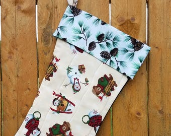 Snowman And Teddy Bear Quilted Christmas Stocking
