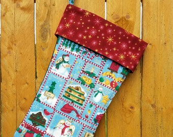Snowman And Bird House Quilted Christmas Stocking
