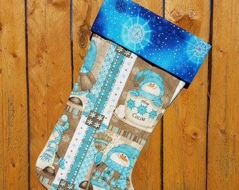 Hot Cocoa Snowman Quilted Christmas Stocking