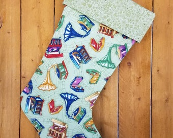 Collectable Phonographs Quilted Christmas Stocking