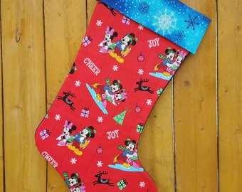 Disney Mickey & Minnie Mouse Quilted Christmas Stocking