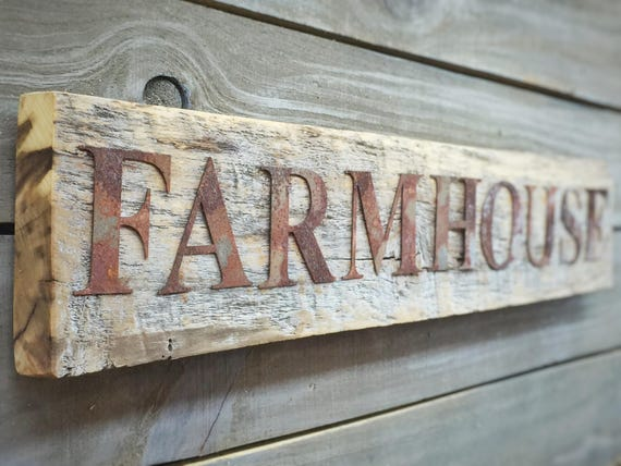 Rustic Farmhouse Sign Metal Letters On Reclaimed 100 Etsy