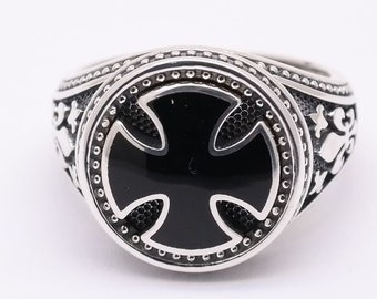 Maltese Cross Ring, Knight Ring, Sterling Silver Ring, Medieval Ring, Malta Cross Ring, Gothic Style Ring, Enamel  Men Ring