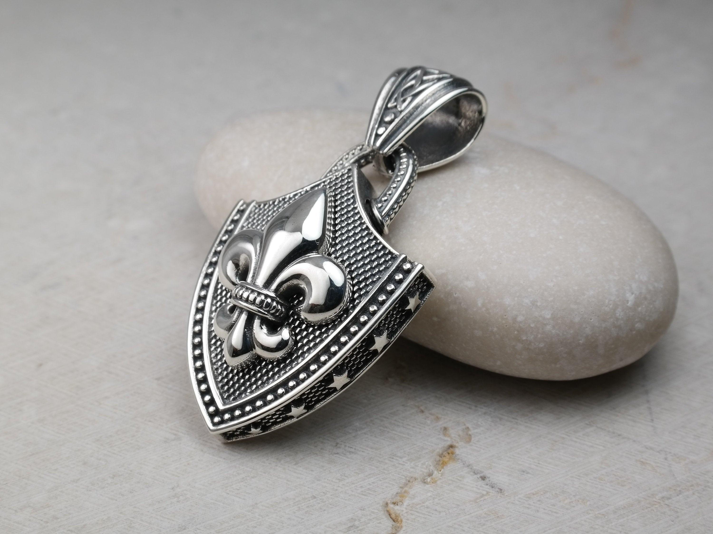 Fleur de lis pendant Fleur De Lis Charm Men/'s silver pendant