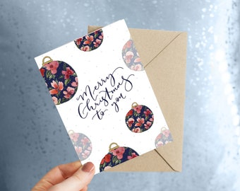 Christmas card floral bauble design / watercolour pretty Christmas cards for family / eco friendly