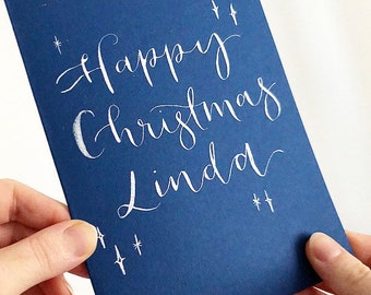 Custom calligraphy Christmas card / Navy blue Christmas card with hand lettered sparkly wording / gift for Mum Dad Sister Friends