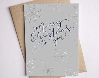 Christmas card snowflake calligraphy card / illustrated Christmas card pack