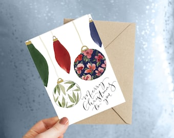 Christmas card bauble design / floral bauble / painted calligraphy design / eco friendly card