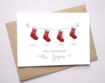 Personalised family Christmas cards / from our family to yours / stockings christmas card / choice of wording