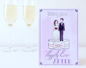 Wedding card Happily ever after / Illustration / Bride and groom on weddingcake / Congratulations Wedding Marriage / A6 card
