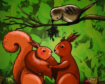 Christmas card / Squirrels / Squirrel couple / Love / Merry Christmas / Illustration / Cute / A6 size / Envelope included / Happy New Year