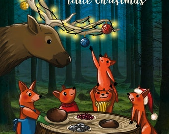 Christmas card / Foxes / Family / Reindeer / Love / Merry Christmas / Dinner / Illustration / A6 size / Envelope included / Happy New Year