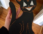 Halloween Wood Cut Black Folky Cat with Jack O Eyes Primitive Holiday Hand Painting