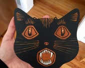 Halloween Wood Cut Black Folky Scaredy-cat Primitive Holiday Hand Painting