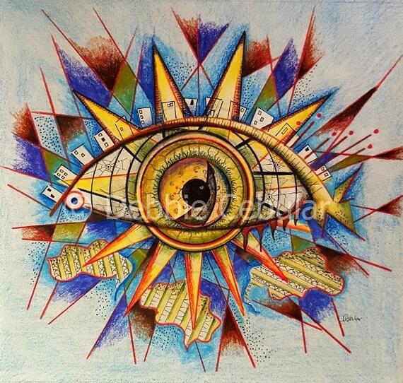 Giclee Art Print Abstract Art Eye Art Pencil Drawings Art By Debbie Cebular Sun Art Limited Edition