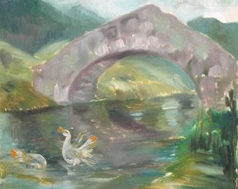 Vintage oil painting landscape river impressionism