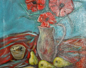 Vintage expressionist oil painting still life with pears & poppy flowers signed