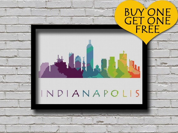 Cross Stitch Pattern Indianapolis Indiana Silhouette Etsy