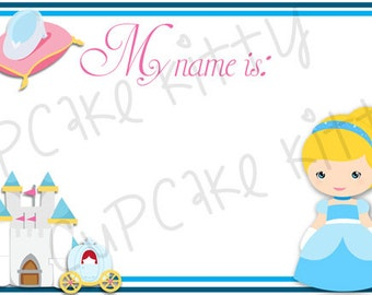74d999a5b Cinderella Name Tags (Adhesive) - Cinderella Princess Birthday Party  Supplies