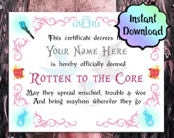"""AUDREY Descendants """"Rotten to the Core""""  Certificate - EDITABLE - Instant Download - Descendants Birthday Party, Descendants Party Favors"""