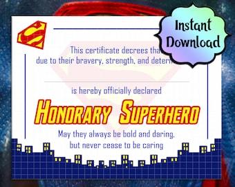 SUPERMAN Superhero Certificate - INSTANT Download - For Birthday Gifts, Party Favors, Superhero Training, Honorary Superhero