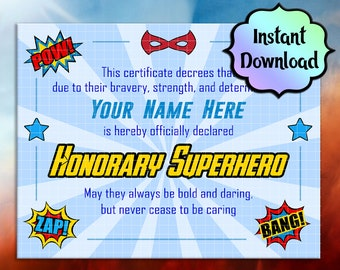 SUPERHERO Certificate- EDITABLE, Printable Instant Download - For Birthday Gifts, Party Favors, Superhero Training