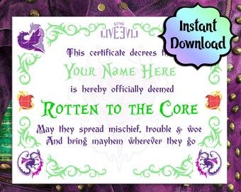 "MAL Descendants ""Rotten to the Core""  5x7 Certificate - EDITABLE - Instant Download - Descendants Birthday Party, Descendants Party Favors"